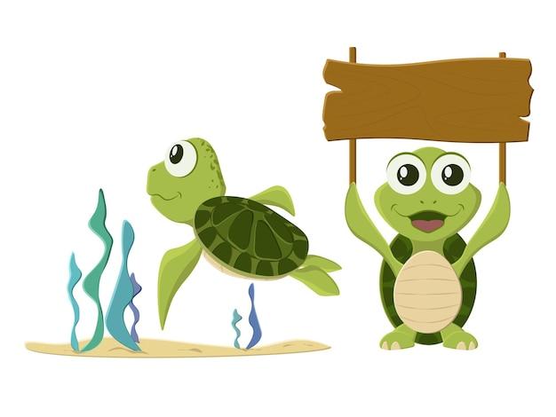 Raccolta di cartone animato tartaruga isolato su bianco