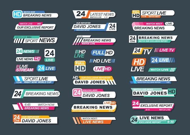Raccolta di barre di notizie tv per notizie, rapporti, canali in diretta, streaming. pacchetto di badge televisivi isolato su sfondo scuro. elegante illustrazione colorata per pubblicità e annunci.