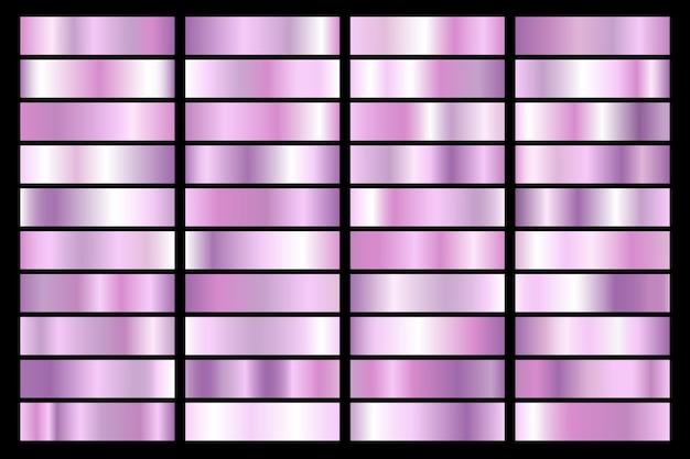 Raccolta di gradiente ultravioletto. piatti brillanti con effetto viola.