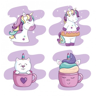 Collezione di unicorni e carino