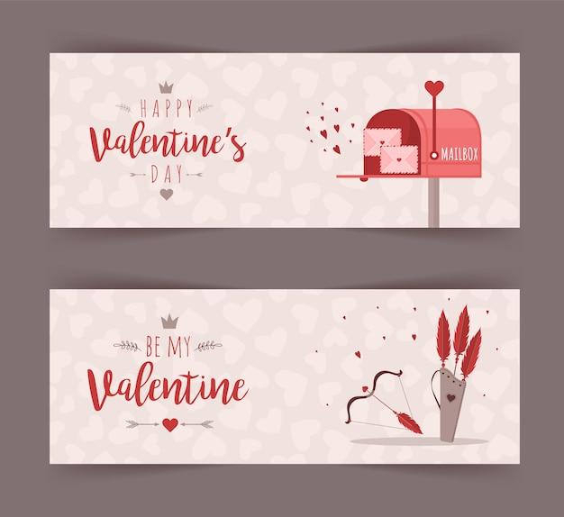 Raccolta di banner di san valentino isolato su grigio