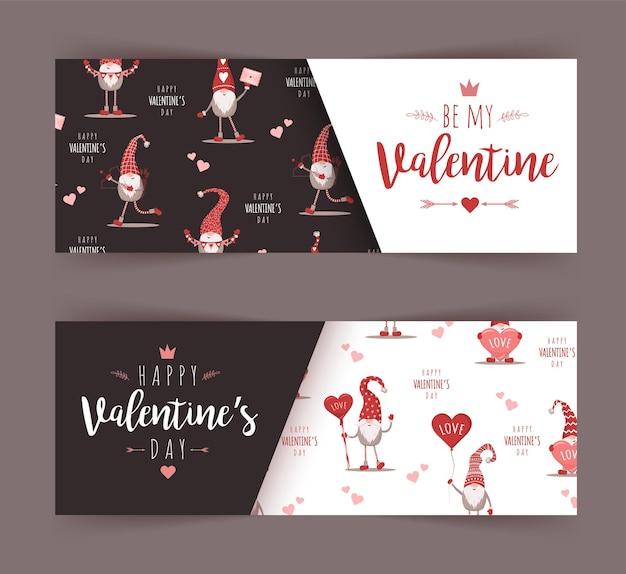 Raccolta di banner di auguri di san valentino isolato su grigio
