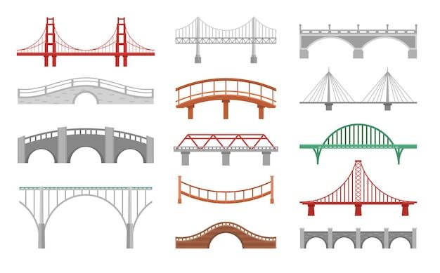 Raccolta di vari bridgeworks isolato su bianco
