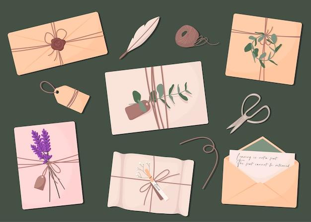 Raccolta di varie buste con posta set di varie lettere di carta ceralacca di cancelleria e
