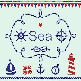 Raccolta di vari elementi nautici per il design e la decorazione della pagina. illustrazione vettoriale.