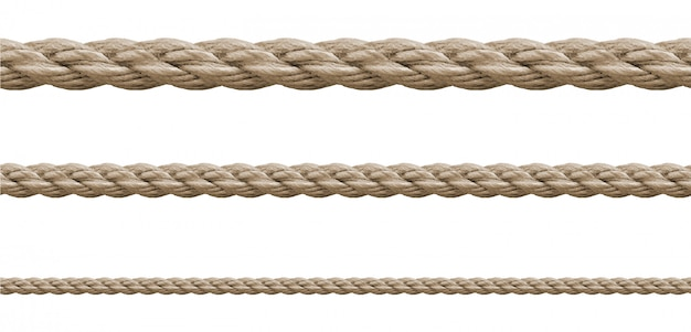 Raccolta di varie corde stringa su bianco