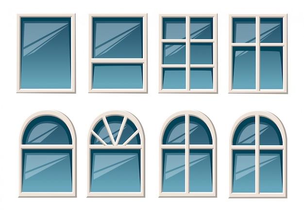 Raccolta di vari tipi di finestre bianche per lo stile di uso interno ed esterno sulla pagina del sito web di sfondo bianco e sull'app mobile