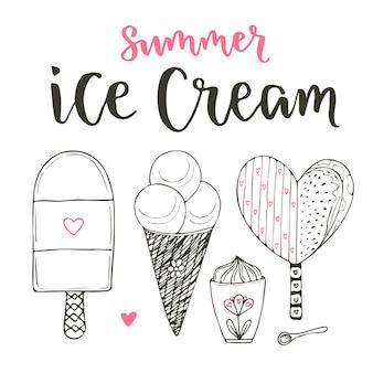 Raccolta di set di gelato di cartone animato set. coni e creme gelate in stile doodle. vector set con lettere