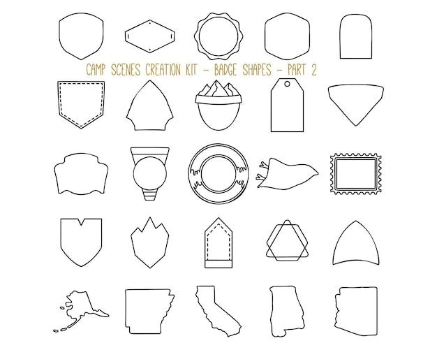 Raccolta di illustrazioni vettoriali di etichette in stile lineare e forme di badge di vario tipo che rappresentano il concetto di avventura estiva e campeggio. parte 2
