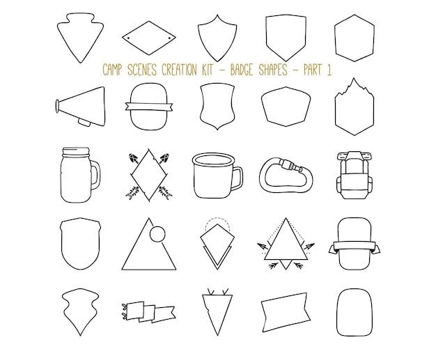 Raccolta di illustrazioni vettoriali di etichette in stile lineare e forme di badge di vario tipo che rappresentano il concetto di avventura estiva e campeggio