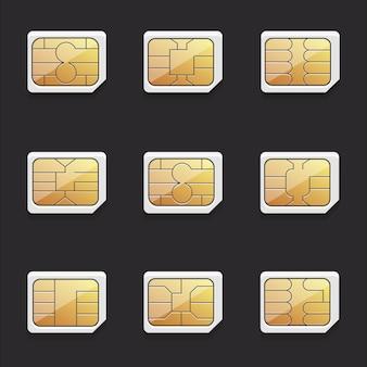 Raccolta di immagini vettoriali di schede sim nano con chip diversi