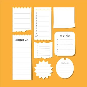 Raccolta di vettore isolato per fare la lista, lista dei desideri, carta per appunti adesiva vuota, ecc. set di note di carta con piano di attività.