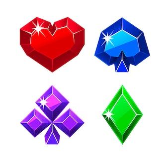 Collezione di semi di carte preziose vettoriali per il poker. set di simboli del casinò per i giochi.