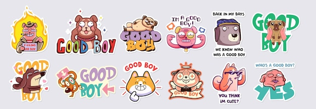 Una raccolta di adesivi o badge vettoriali con diversi cani che sanno di essere bravi ragazzi