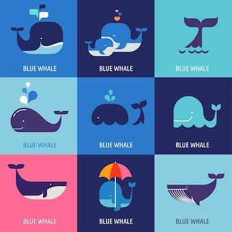 Collezione di icone vettoriali di balene