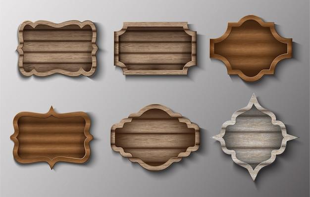 Collezione di cornici in legno vettoriale e insegne.