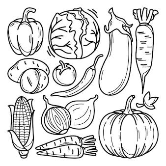 Raccolta di doodle di verdure