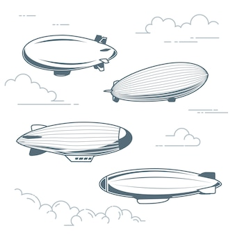 Collezione di dirigibili vintage: mongolfiere, dirigibili e dirigibili