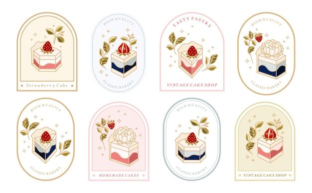 Collezione di logo vintage per torta ed etichetta alimentare con elementi floreali con cornice di fragole