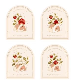 Collezione di logo torta vintage ed etichetta alimentare con elementi di fiori di fragola, rosa, peonia