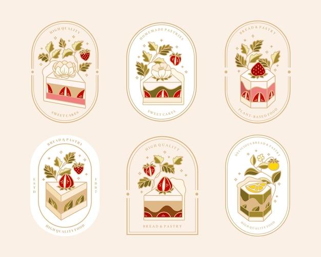 Collezione di logo torta vintage e etichetta alimentare con fragole Vettore Premium
