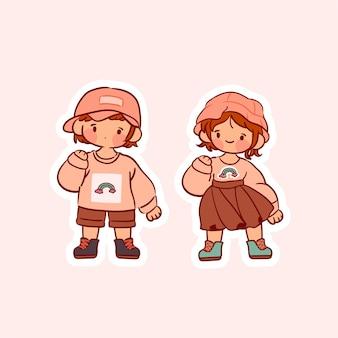 Collezione di vintage girl isolata sul rosa