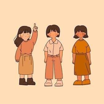 Collezione di ragazze vintage isolate su giallo