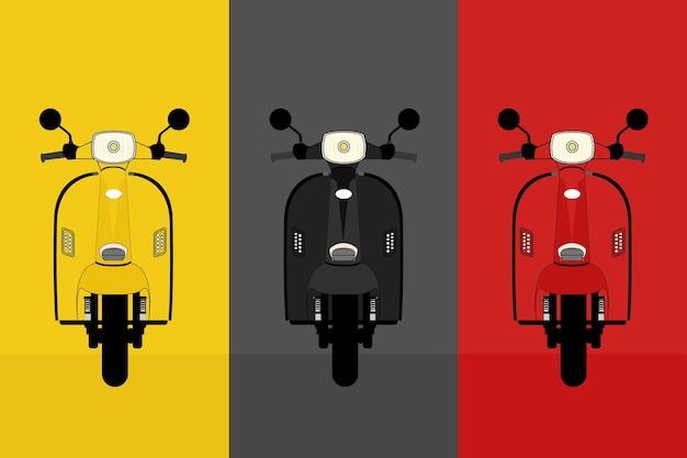 Collezione vintage scooter con colore giallo, nero e rosso