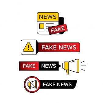 Raccolta di segnale di avvertimento con il testo di notizie false in varie forme e stile.
