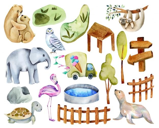 Collezione di animali dell'acquerello con elementi e attributi dello zoo