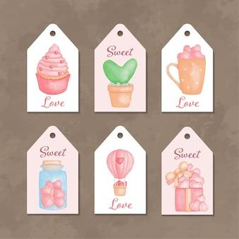 Raccolta di etichette ad acquerello per san valentino Vettore Premium