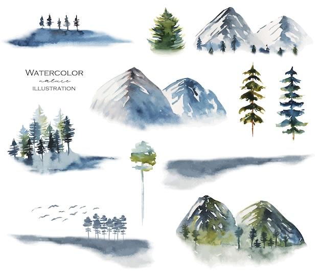 Raccolta di paesaggi ad acquerello con montagne di conifere nebbiose e vista sulla natura