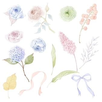 Raccolta di foglie e fiori ad acquerello vector