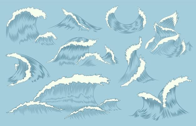 Raccolta di onde incisione. sfondo di onde marine e nautiche o dell'oceano