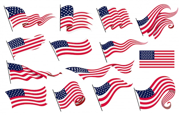 Collezione sventolando bandiere degli stati uniti d'america. illustrazione delle bandiere americane ondulate. simbolo nazionale, bandiere americane su fondo bianco - illustrazione