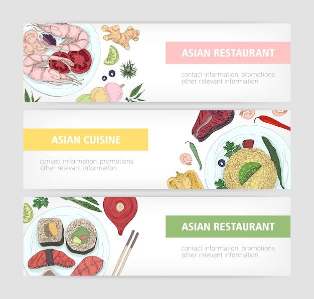 Raccolta di modelli di banner web con gustosi pasti tradizionali della cucina asiatica che si trovano sui piatti