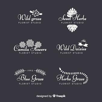 Collezione di loghi di fioristi di nozze Vettore Premium