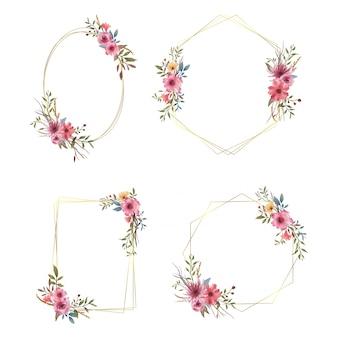 Collezione di cornici di nozze con elementi di mazzi di fiori ad acquerelli e bordi dorati