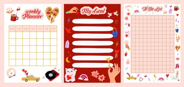 Raccolta di pianificatore settimanale o giornaliero, lista delle cose da fare, modelli di carta per appunti con simpatiche illustrazioni di cartoni animati d'amore. scheduler e organizzatore della scuola.