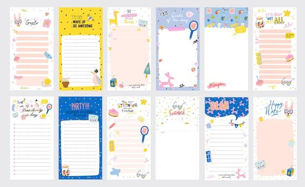 Raccolta di pianificatori settimanali o giornalieri, fogli di appunti, elenchi di cose da fare, modelli di adesivi decorati da simpatiche illustrazioni d'amore