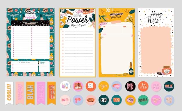 Raccolta di pianificatore settimanale o giornaliero, carta per appunti, lista delle cose da fare, modelli di adesivi decorati da simpatici