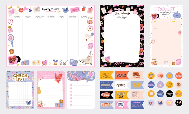 Raccolta di planner settimanale o giornaliero, carta per appunti, lista delle cose da fare, modelli di adesivi decorati