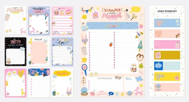 Raccolta di pianificatore settimanale o giornaliero