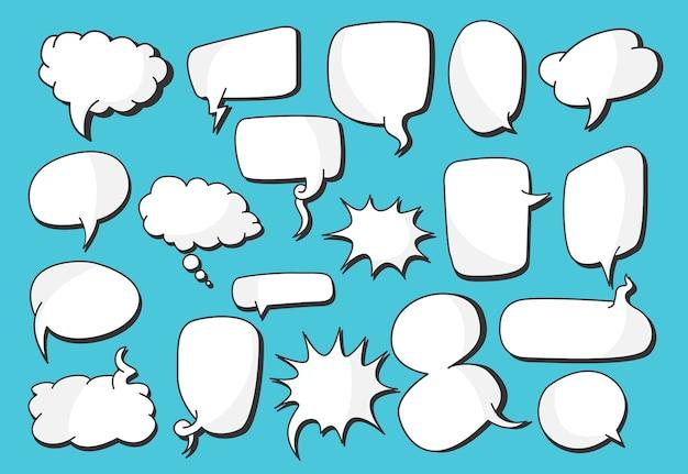 Raccolta di vettore di bolle di discorso vuoto bianco