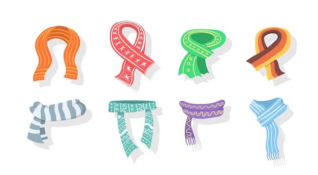 Collezione di sciarpa invernale o autunnale. sciarpe e scialli impostare la raccolta di icone in stile cartone animato. sciarpe alla moda isolate su una priorità bassa bianca. in design piatto.