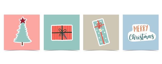 Raccolta di sfondo invernale con albero, regalo. illustrazione vettoriale modificabile per invito di natale, cartolina e banner del sito web