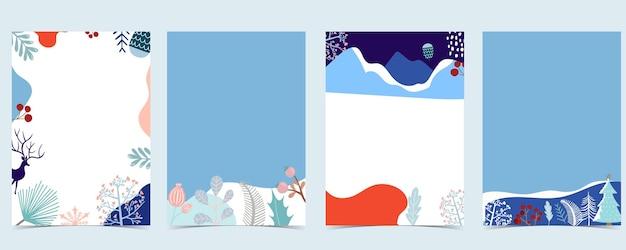Raccolta di sfondo invernale con albero, renna, fiore, foglie. illustrazione vettoriale modificabile per invito di natale, cartolina e banner del sito web