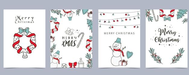 Raccolta di sfondo invernale con albero, pupazzo di neve, fiore, foglie. illustrazione vettoriale modificabile per invito di natale, cartolina e banner del sito web
