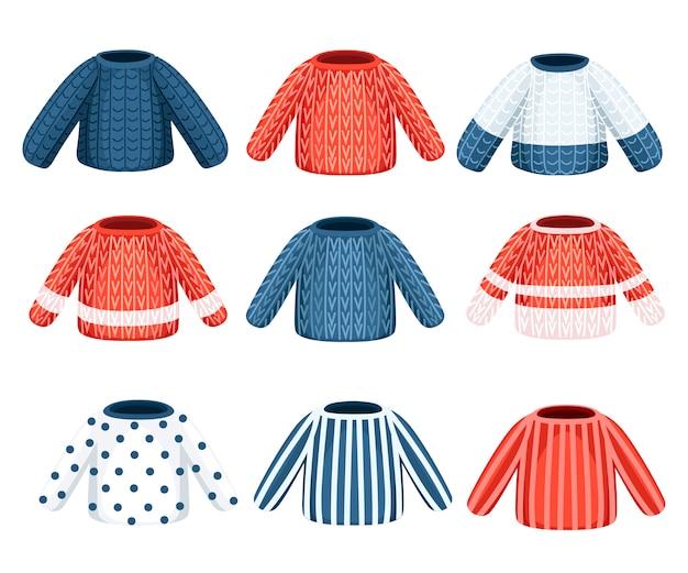 Collezione di maglione lavorato a maglia invernale. vestiti con motivi diversi. illustrazione su sfondo bianco