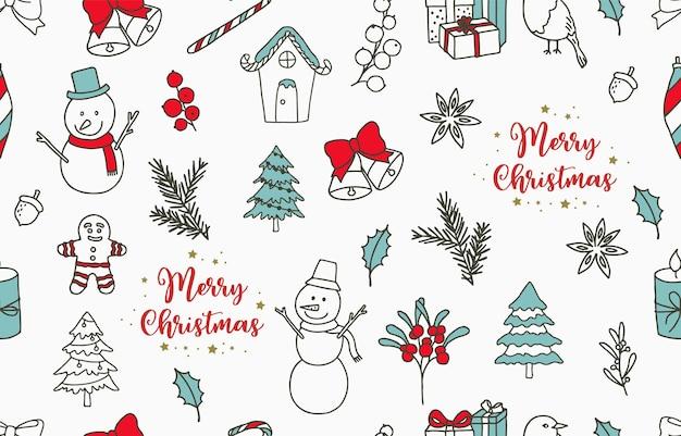 Collezione di motivi invernali senza cuciture con albero, pupazzo di neve, regalo; campana